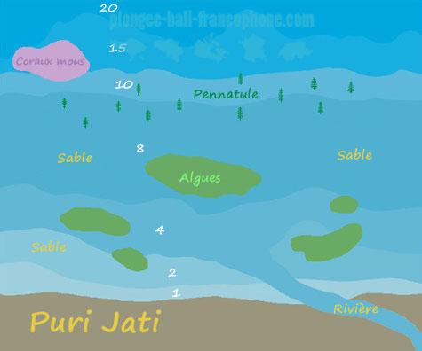 La carte du site de plongée Macro de Puri Jati, Bali