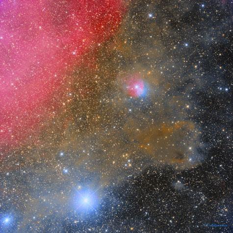 Nebulosa de la Fresa Mohosa y sus alrededores