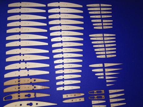 CNC Lasercut Rippensatz für Graupner Cirrus 3 Meter Spannweite mit GFK Epoxi Rumpf