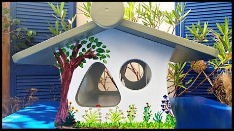 Vogel voederhuis, beschilderd vogelhuis, kleine vogels