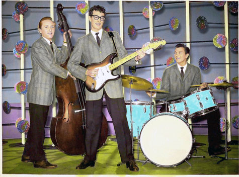 Buddy and the boys at the BBC, March 1958
