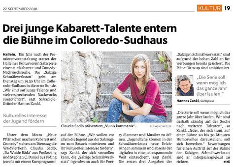 Schmähwerkstatt: Drei junge Kabarett-Talente entern die Bühne im Colloredo-Sudhaus