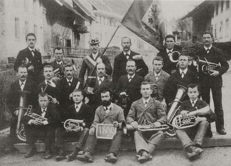 Die Musikgesellschaft Schupfart bei der Fahnenweihe 1899