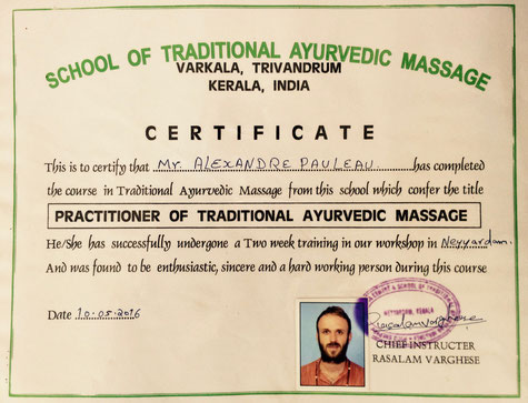 Diplomé massage ayurvédique
