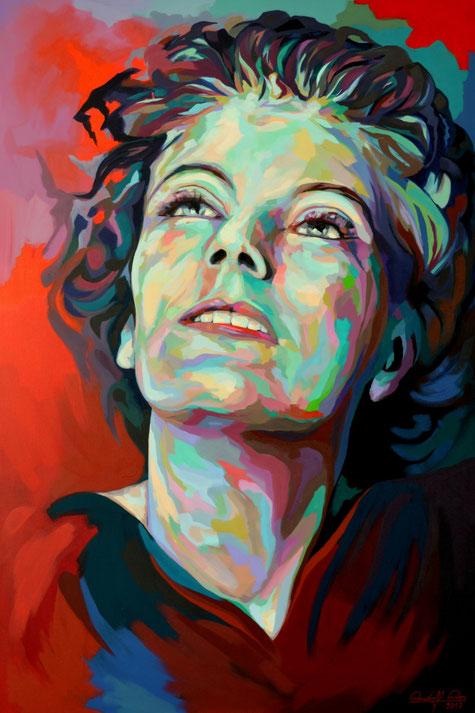 In Acryl gemaltes Porträt der Schauspielerin Greta Garbo.