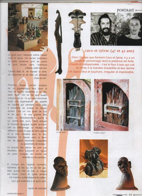 Article dans le N°40 de Créamania - Août Septembre 2004 - présentant la salle d'exposition de Caco et Sylvie ainsi que Pièces et Enfournements .