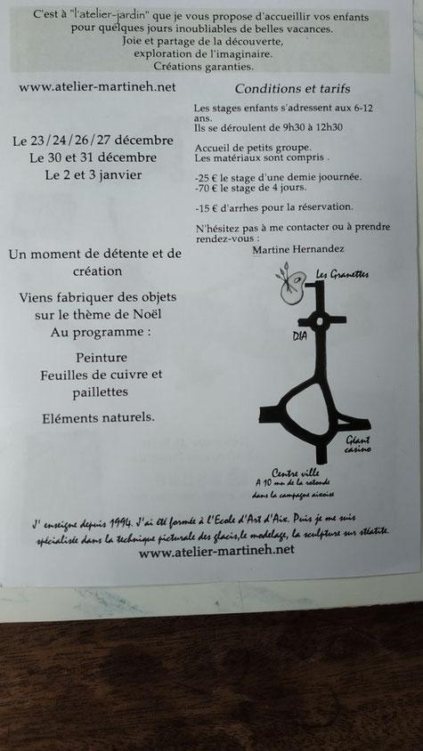 stages créatifs pour enfants à Aix en Provence durant les vacances de Noël