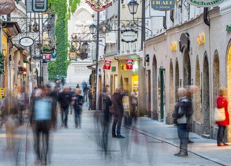 """The picture of the """"Getreidegasse"""" in Salzburg, Austria is a collage of over 30 photos   (c) www.strobgalerie.at"""