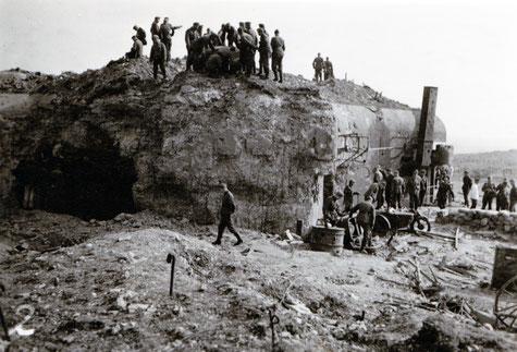 Le bloc 1 du Welschhof en ruine après les combats (coll. Sébastien Schlegel).