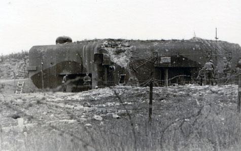 La casemate de Bining, après les combats (Coll. Sébastien Schlegel).