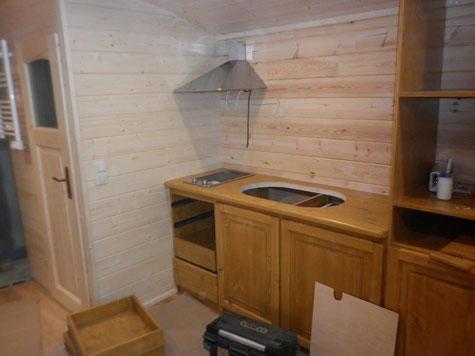 La kitchenette de la roulotte équipée