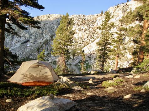 Unser Camp an Little Clair Lake nach einem heftigen Gewittersturm