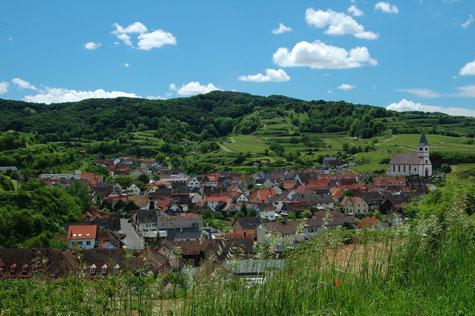 Dorf in Reblandschaft, blauer Himmel mit weißen Wolken