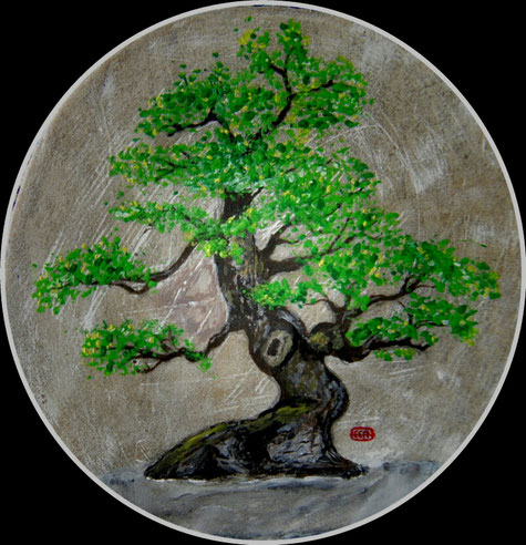 Der Baum gemalt auf Leder einer Trommel. Ein Werk des Künstlers Erol Alp.