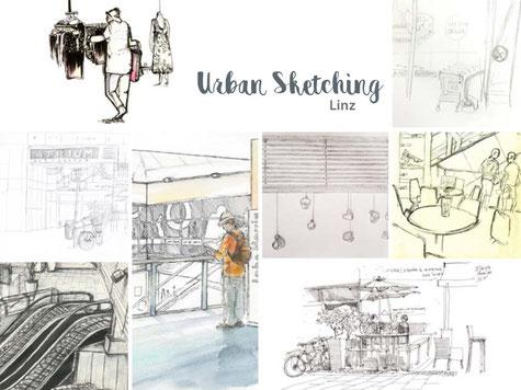 Wolfgang Hauer, Urban Sketching Linz, Ausstellung Atrium