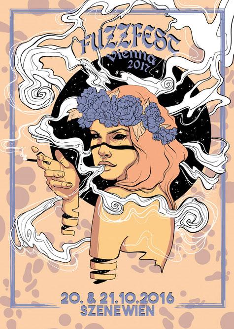 """""""FuzzFest Vienna 2017"""" Plakat von Lisa »Miss Felidae« Arnberger"""