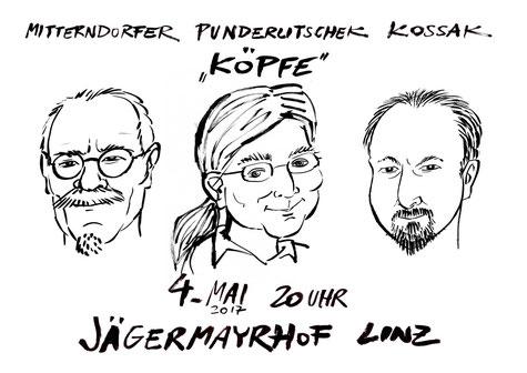 """Mitterndorfer, Punderlitschek & Kossak: """"KÖPFE"""""""