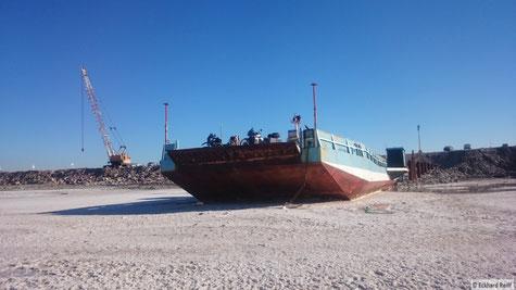 yepee, wir sind die ersten auf der Fähre am Urmia Salzsee