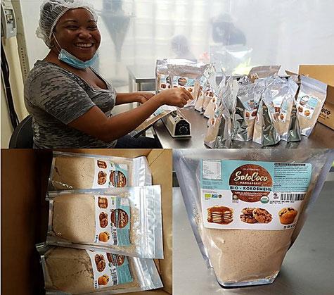 Verpackung der ersten Charge unseres SoloCoco Kokosmehls. Es ist glutenfrei, reich an Ballaststoffen und arm an Kohlehydraten
