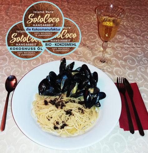 Spaghetti mit Aglio e Kokos-Oglio natürlich mitr SoloCoco Kokosöl Rezept