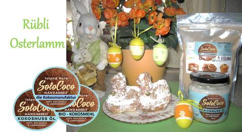 ein Rezept für ein Kokos-Osterlamm mit Karrotten