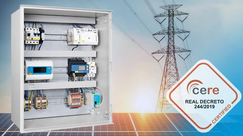 Le régulateur blue'Log XC de meteocontrol est certifié conforme au Real Decreto (RD) 244/2019 pour l'utilisation en Espagne. Image source: meteocontrol GmbH
