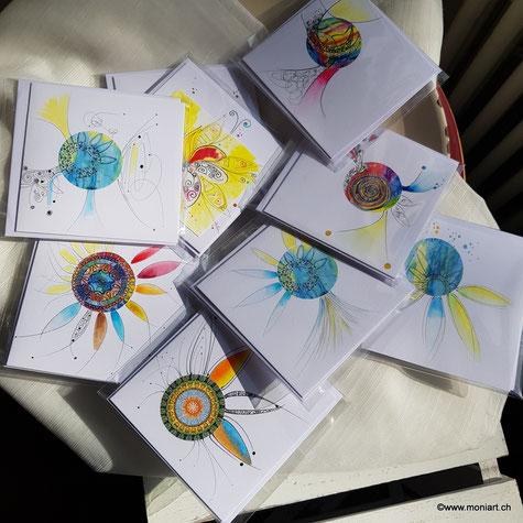 Karten Wichteln Geschenke Adventskalender Muster Farben Kunst