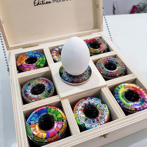 Eierbecher rund Egg-Bert Wichteln Geschenke Adventskalender bunt mandala