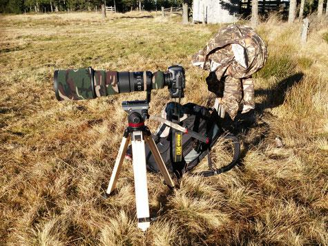 Älters Setup zur Wildlife Fotografie. Berlebach Stativ mit Nikon f4/500mm VR und der (nicht mehr vorhandenen) Nikon D610