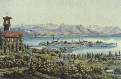 """Abb. 1: """"Ansicht von Lindau vom Hoyerberg"""", Farblithographie von R. Dinkenmann, ca. 1860"""