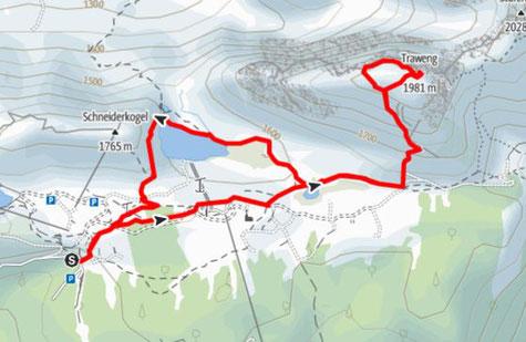Route von der Tauplitzalm auf den Traweng