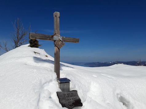 Adlerstein Gipfelkreuz bei Attersee und Mondsee nach der Wanderung auf die Eisenaueralm