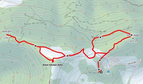 Route auf die Hohe Dirn , Weiterwanderung zur Anton-Schosser Hütte und auf den Schwarzkogel