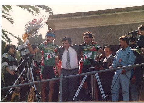Foto courtesy: Archivio TLS, il patron Fanini tra il vincitore Cimini e Di Basco.