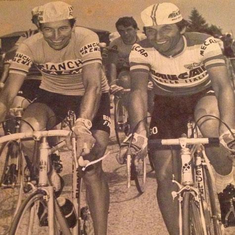 Bruno Zanoni in corsa con l'amico Felice Gimondi