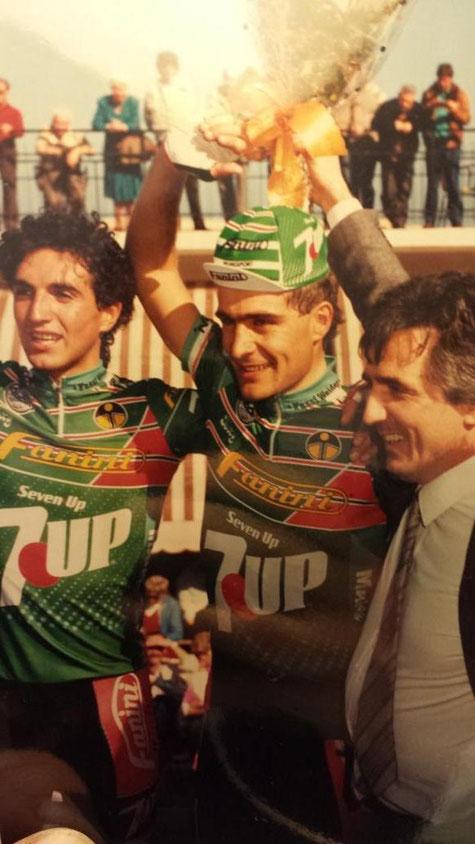Foto courtesy: Paolo Colombo, Paolo Cimini sul podio del Trofeo Laigueglia con Di Basco e Fanini.