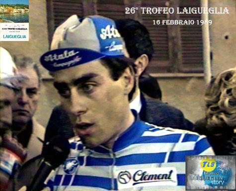 Foto courtesy: Archivio TLS, SIlvio Martinello intervistato dalla RAI al termine del 26° Trofeo Laigueglia.