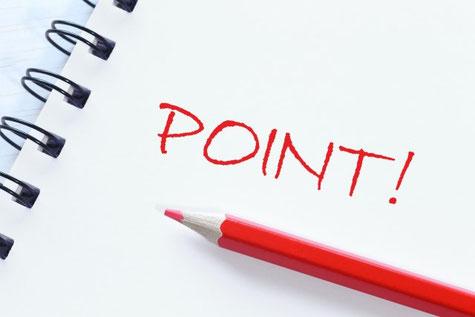 ノートに書かれたpointと赤い色鉛筆