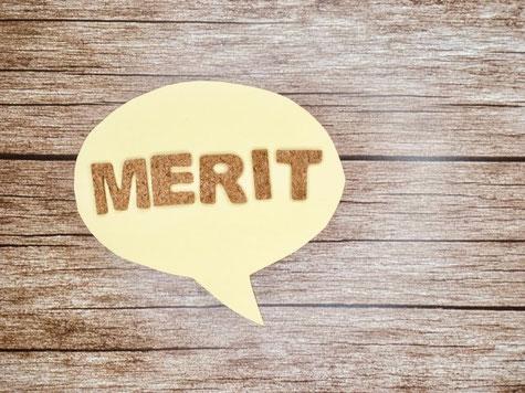 MERITと書かれた吹き出し