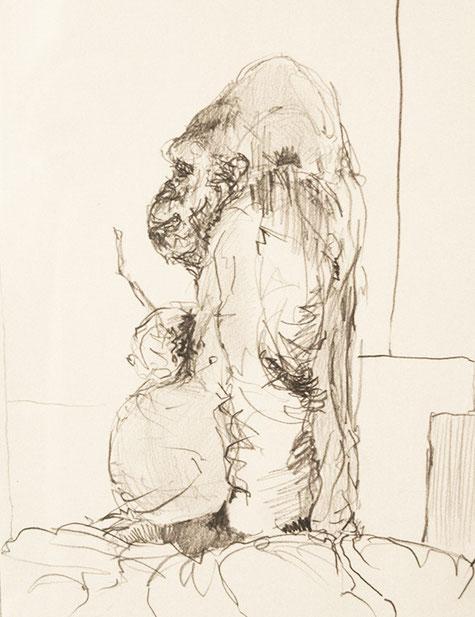 Gorilla, Skizze, Bleistift, Kunst, Tilmann Bohne, Holzsteinpapier