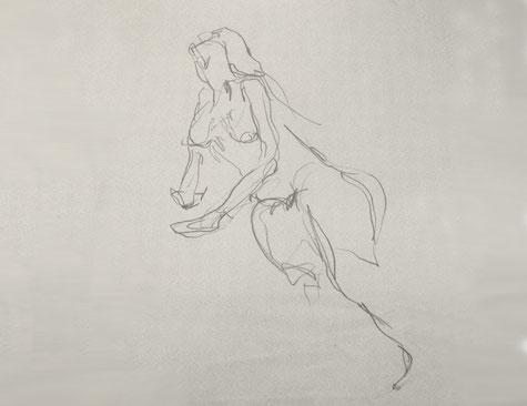 Akt, Frau, Skizze, Bleistift, Kunst, Tilmann Bohne, Holzsteinpapier