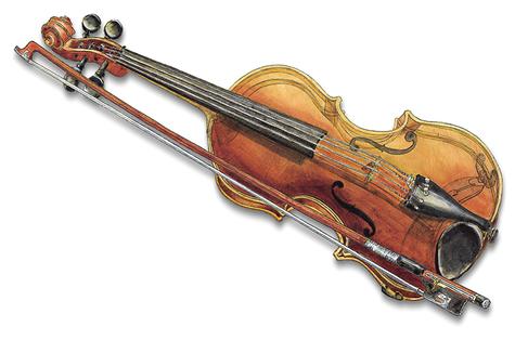 Eine Geige und der Bogen