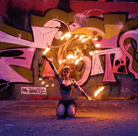 Lucy und Hanca, duo Feuershow Berlin