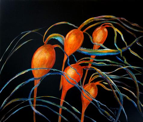 Bull kelp, Acrylic and ink on canvas,   50 x 60 cm         2018