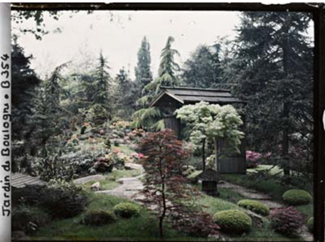 May 1915: Autochrome - A Japanese Gate - Albert Kahn's Garden of Boulogne