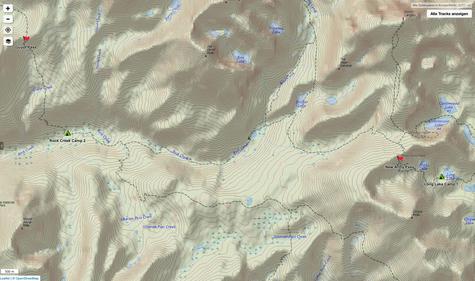 Long Lake via New Army Pass bis zum Lower Rock Creek Crossing