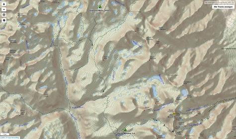 Von Crabtree Meadow bis Diamond Mesa kurz vor Forester Pass
