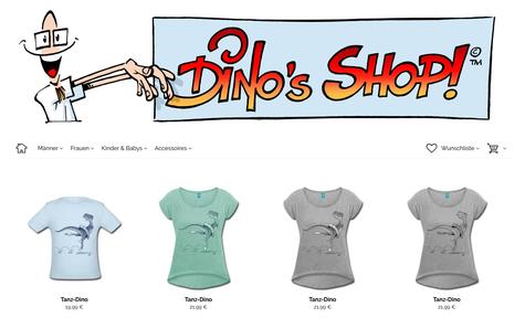 """Zeichnungen von Helmut »Dino« Breneis im neuen """"Dino's Shop"""" bei SpreadShirt."""