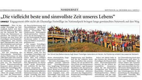 Zeitungsartikel Freiwilligen Netzwerk