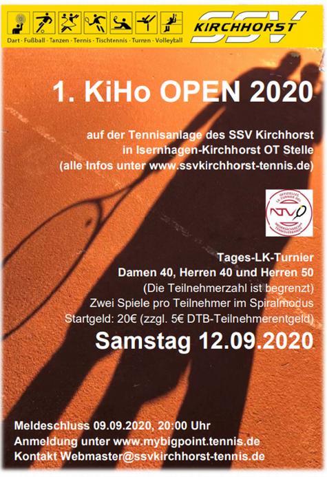 1. KiHo Open 2020 Tages-LK-Turnier Samstag, den 12.09.2020 in Isernhagen-Kirchhorst OT Stelle - Infos und Anmeldung unter www.mybigpoint.tennis.de